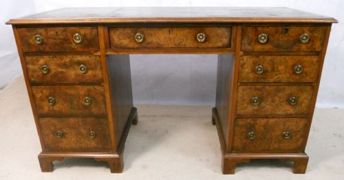 Walnut Pedestal Kneehole Writing Desk